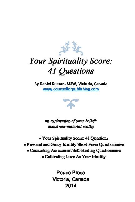 PDF) Your Spirituality Score: 41 Questions | Daniel Keeran