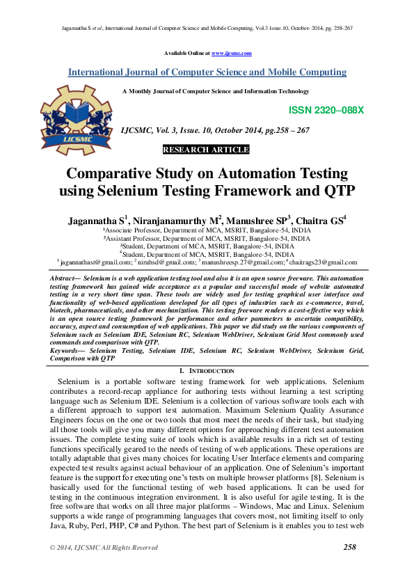 PDF) Comparative Study on Automation Testing using Selenium