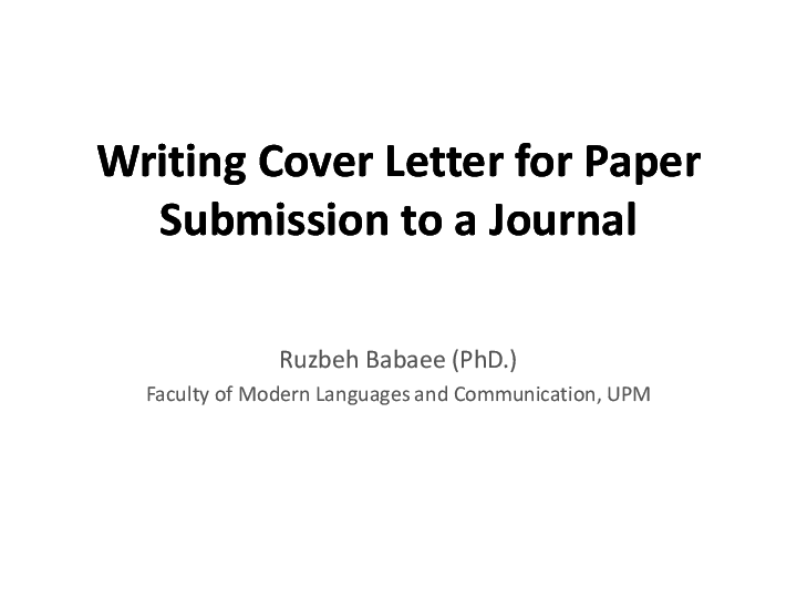 Ppt Cover Letter Writing For Paper Submission University