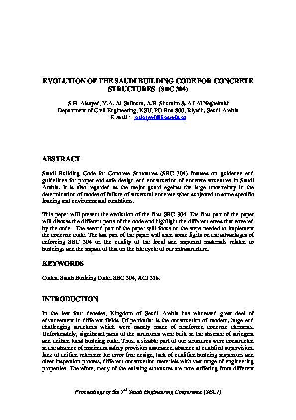 PDF) EVOLUTION OF THE SAUDI BUILDING CODE FOR CONCRETE