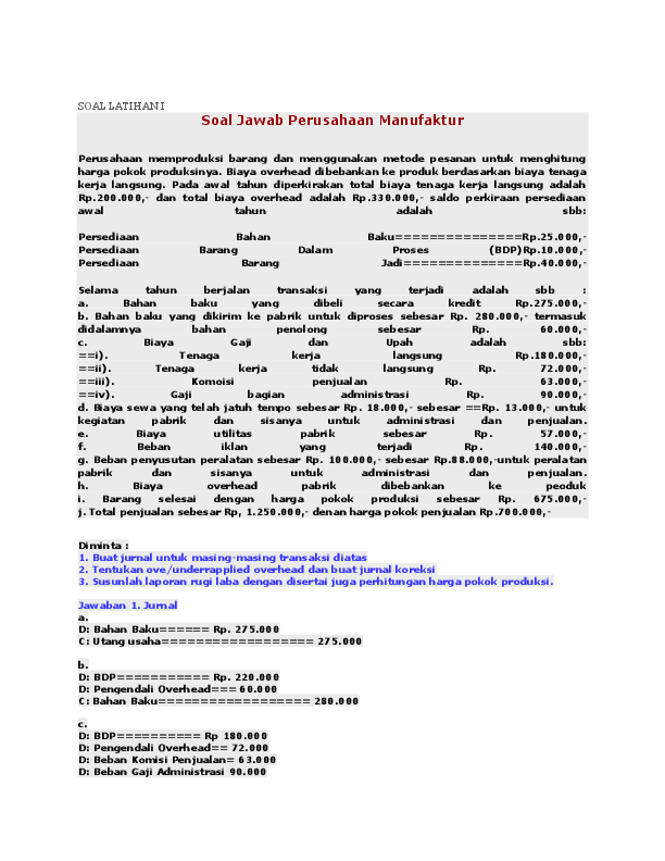 Doc Soal Dan Jawaban Akuntansi Biaya 1 Shella Vina Academia Edu