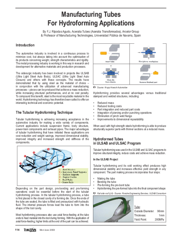 PDF) Manufacturing Tubes For Hydroforming Applications | Nhan Le