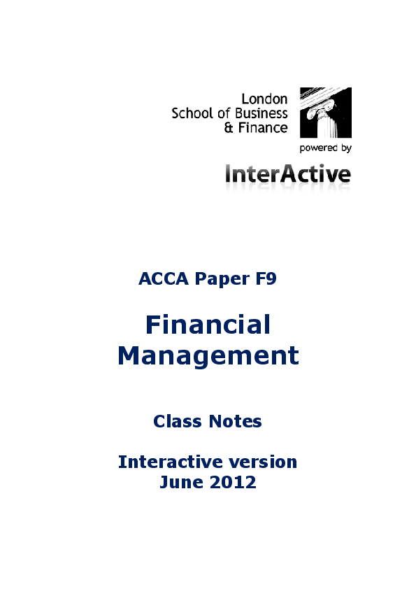 PDF) ACCA Paper F9 Financial Management Class Notes
