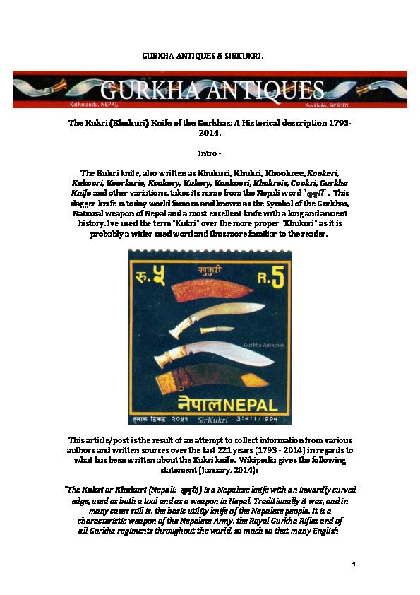 PDF) The Kukri (Khukuri) Knife of the Gurkhas