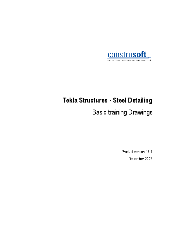 PDF) Tekla Structures -Steel Detailing Basic training