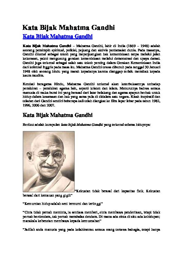 Doc Kata Bijak Mahatma Gandhi Leobardus Rd Academiaedu