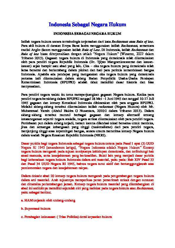 Indonesia Sebagai Negara Hukum Indonesia Sebagai Negara Hukum Asep Jaelani Academia Edu