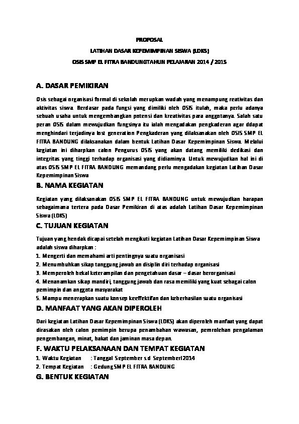 Doc Proposal Latihan Dasar Kepemimpinan Siswa Ldks Osis Smp El Fitra Bandungtahun Pelajaran 2014 2015 Penyampaian Materi Tentang Bullet Keorganisasian Bullet Ad Art Osis Rahmat Hidayat Academia Edu