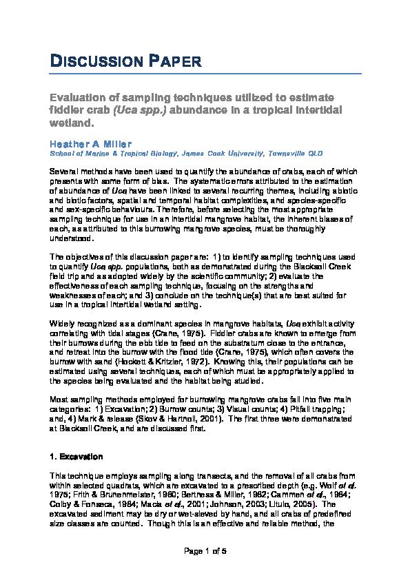 PDF) Evaluation of sampling techniques utilized to estimate fiddler