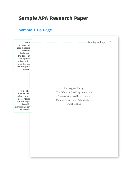 Apa format research paper cover page essay greek hero