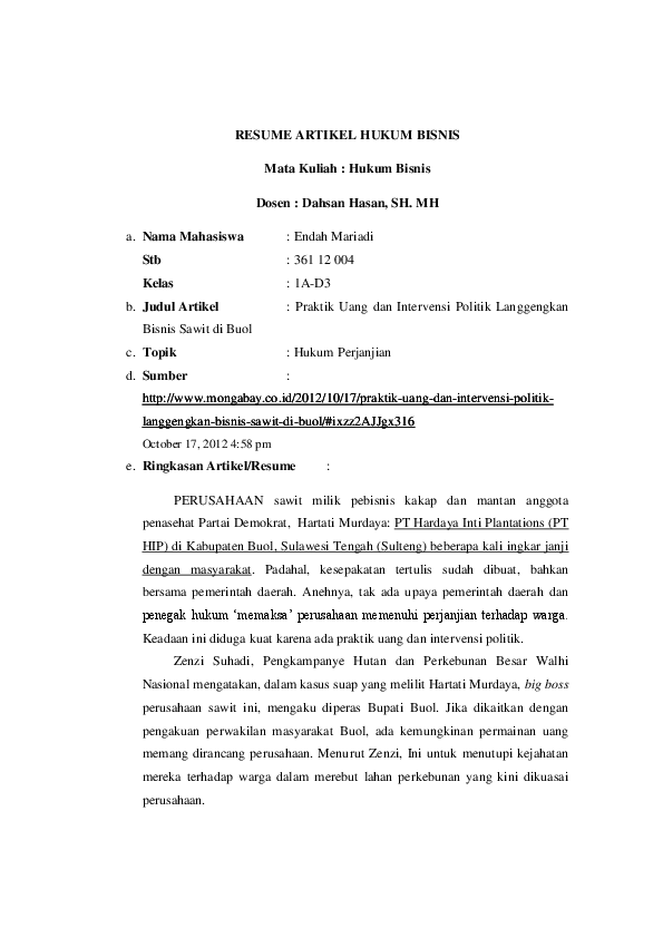 Doc Resume Artikel Hukum Bisnis Endah Mariadi Academia Edu