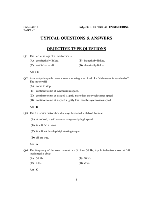 PDF) Electrical Engineering question and answers | Muhammad Sharif