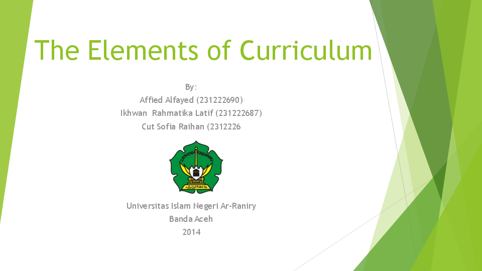 ppt  the elements of curriculum
