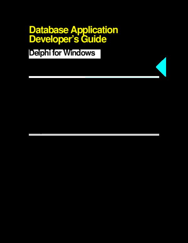 PDF) Delphi Database Application Developer's Guide | Chuyin