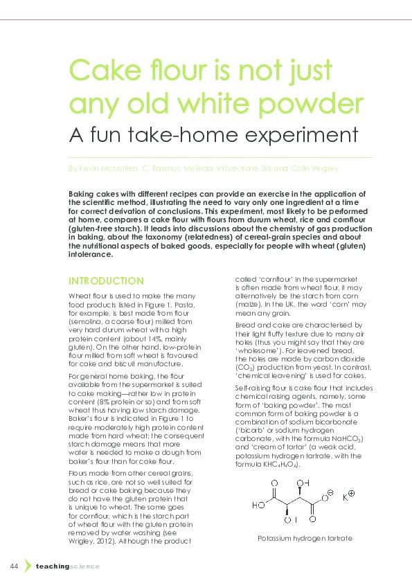 PDF) Cake flour article Teaching Science   Colin Wrigley