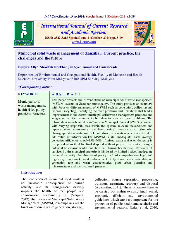 PDF) Municipal solid waste management of Zanzibar: Current