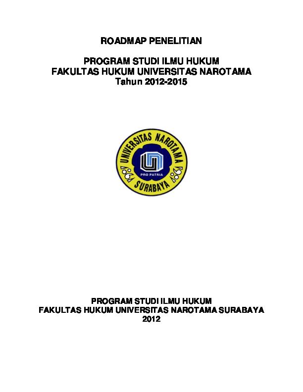 Doc Roadmap Penelitian Ilmu Hukum 2011 2015 Iwan Brur Academia Edu