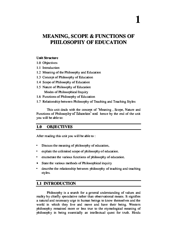 PDF) MEANING, SCOPE & FUNCTIONS OF PHILOSOPHY OF EDUCATION