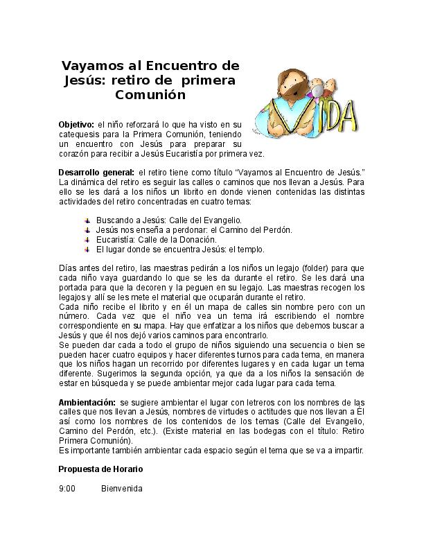 Doc Vayamos Al Encuentro De Jesús Retiro De Primera Comunión Geiry De Santizo Academia Edu