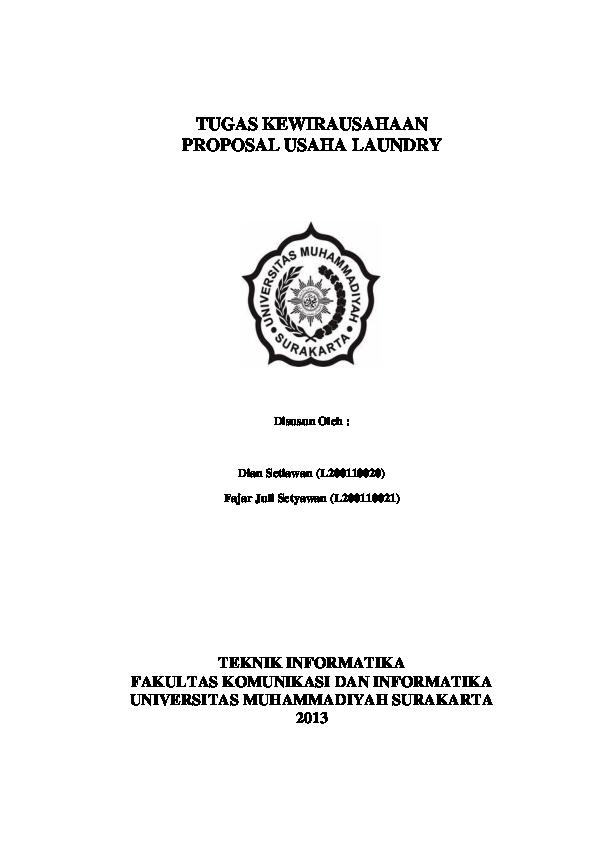 Doc Proposal Usaha Laundry Kiloan Dian Setiawan Academia Edu