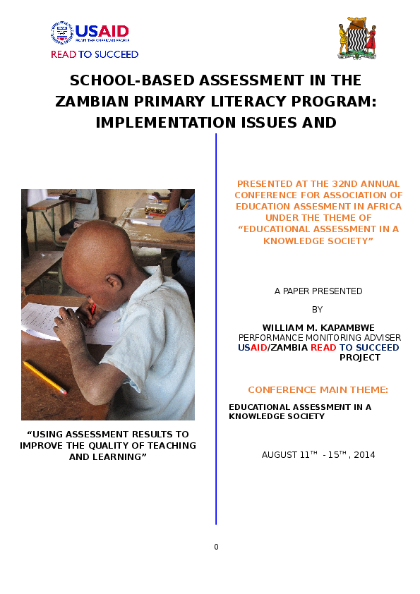 DOC) School-Based Assessment in the Zambian Primary Literacy