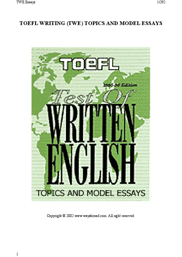 PDF) TOEFL WRITING (TWE) TOPICS AND MODEL ESSAYS | Asset Zakirov