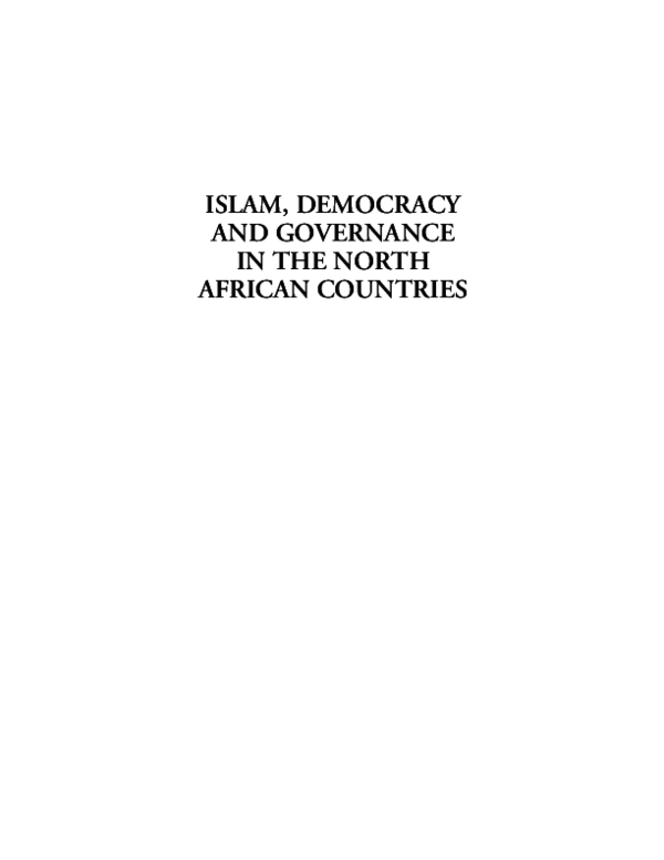 PDF) Islam, Democracy and Governance in North African