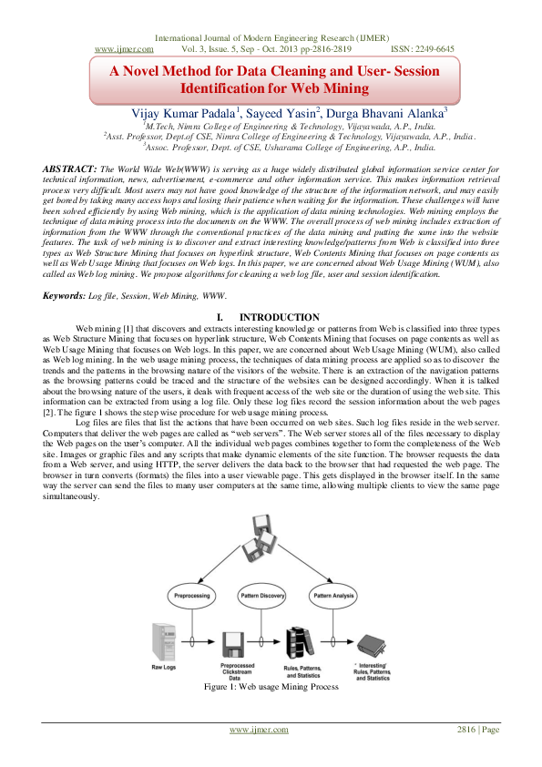 PDF) A Novel Method for Data Cleaning and User- Session