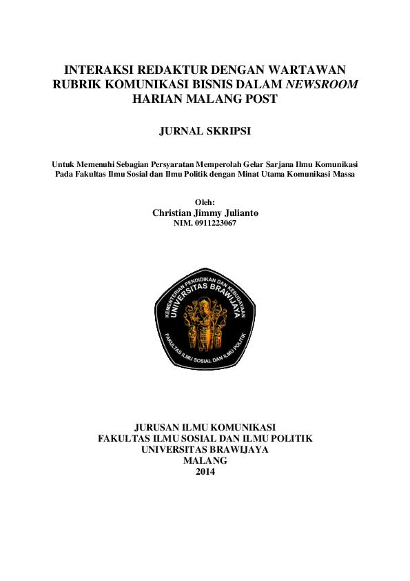 Pdf Interaksi Redaktur Dengan Wartawan Rubrik Komunikasi Bisnis Dalam Newsroom Harian Malang Post Christian Jimmy Academia Edu