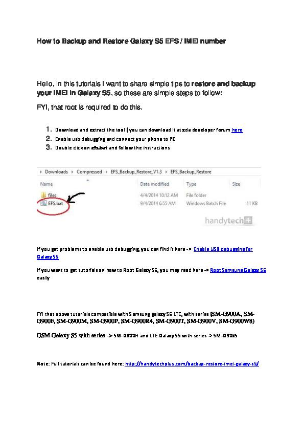 DOC) How to Backup & Restore IMEI Samsung Galaxy S5 | Larrry myura