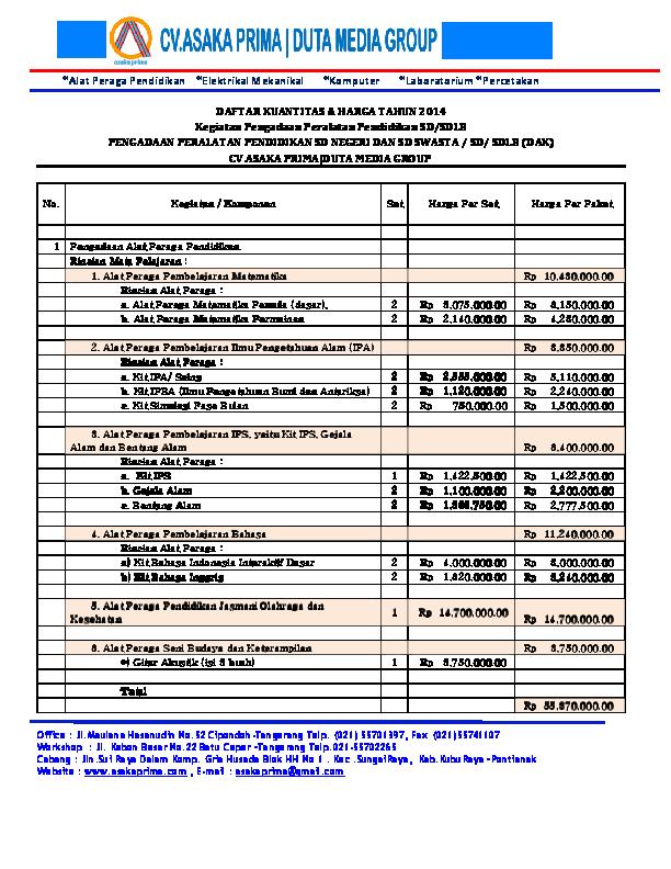 Daftar Harga Alat Peraga Ipa Smp Berbagai Alat