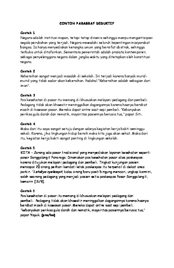 Doc Kumpulan Contoh Paragraf Deduktif Induktif Dan Campuran Sahrul Parawie Academia Edu