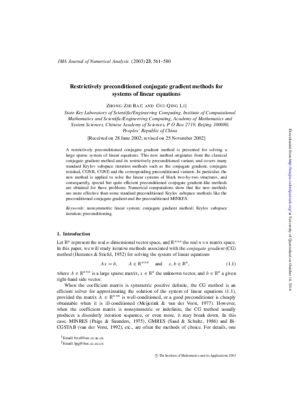 PDF) Restrictively preconditioned conjugate gradient methods