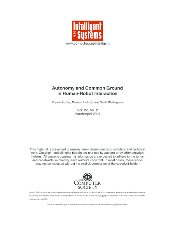 PDF) Autonomy and Common Ground in Human-Robot Interaction