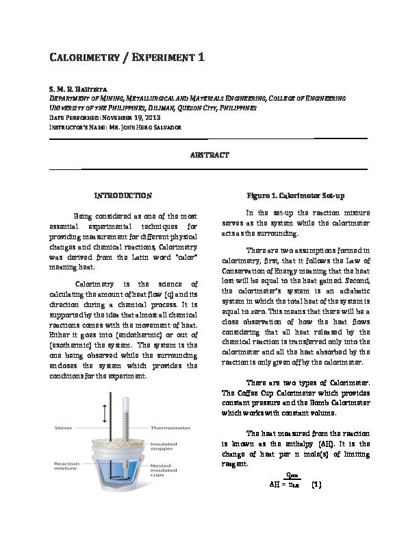 calorimetry formula chemistry