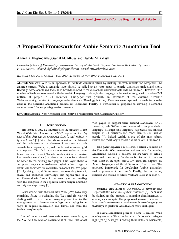 PDF) A proposed Framework for Arabic Semantic Annotation