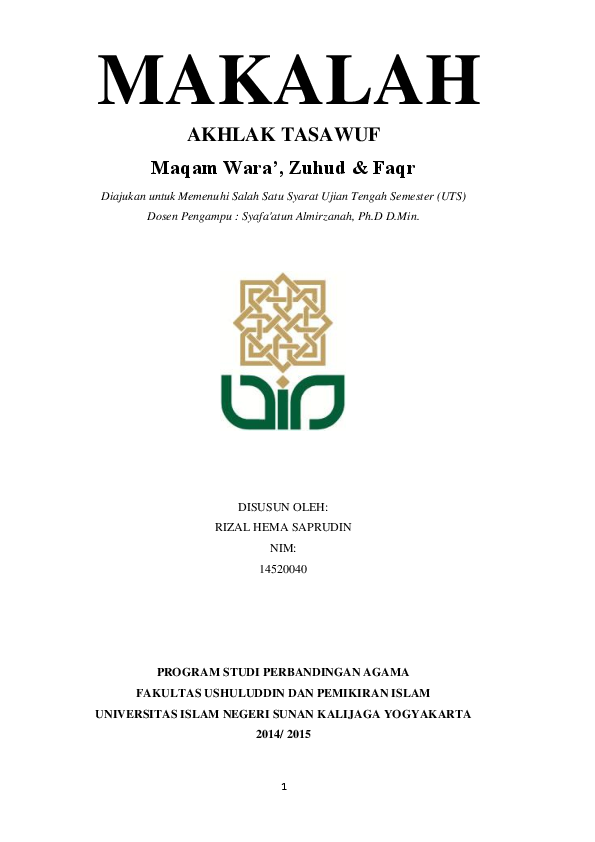 Doc Makalah Maqam Wara Zuhud Faqr Rizal Apriliano Academia Edu