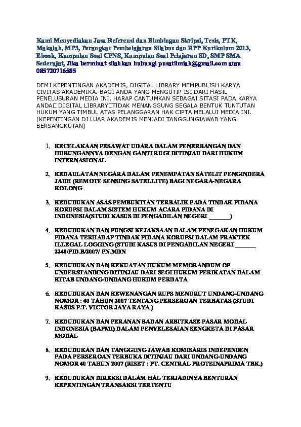 Pdf Download Skripsi Ilmu Hukum Adi Purba Academia Edu