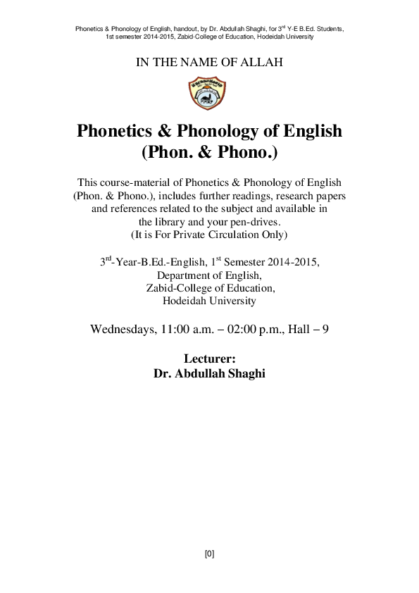 PDF) A Course Handout of Phonetics and Phonology of English
