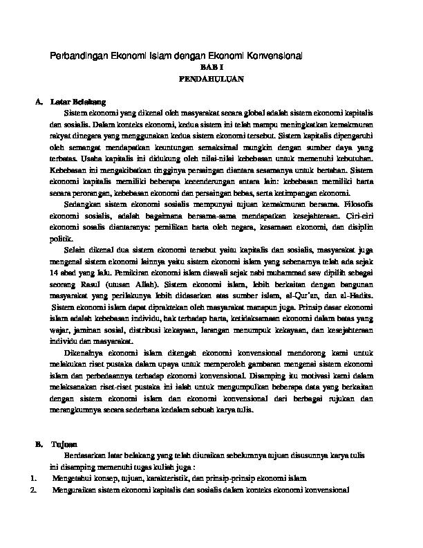 Doc Perbandingan Ekonomi Islam Dengan Ekonomi Konvensional Bab I Pendahuluan Andini Rizki Nursani Academia Edu