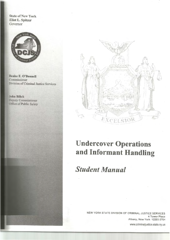 PDF) Undercover and Informant Handling Tactics Training Manual