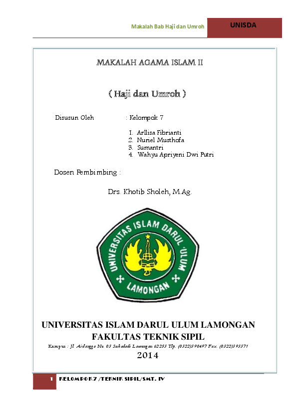 Doc Makalah Agama Islam Ii Haji Dan Umroh Alli Dzakwan Academia Edu