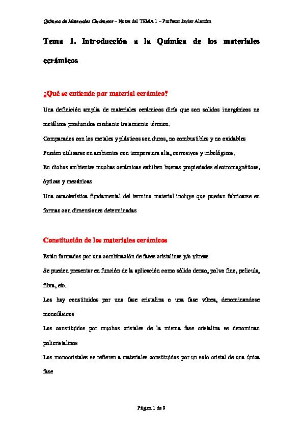 Pdf Química De Materiales Cerámicos Notas Del Tema 1