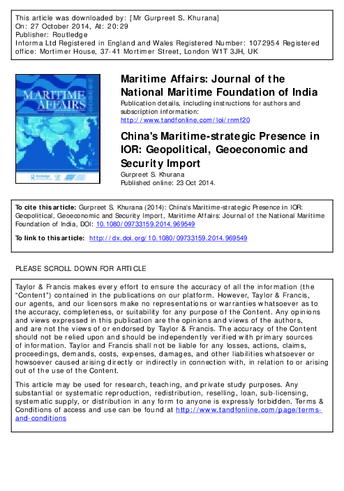 PDF) China's Maritime-strategic Presence in Indian Ocean