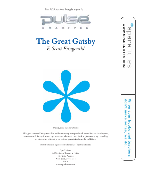 The Great Gatsby Sparknotes Pdf