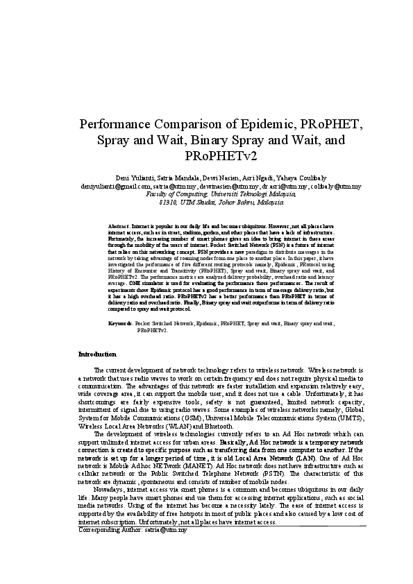 PDF) Performance Comparison of Epidemic, PRoPHET, Spray and Wait