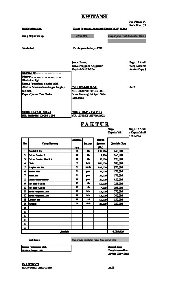 Format Kwitansi Faktur Kosong Terbaru Nofri Kre Academiaedu