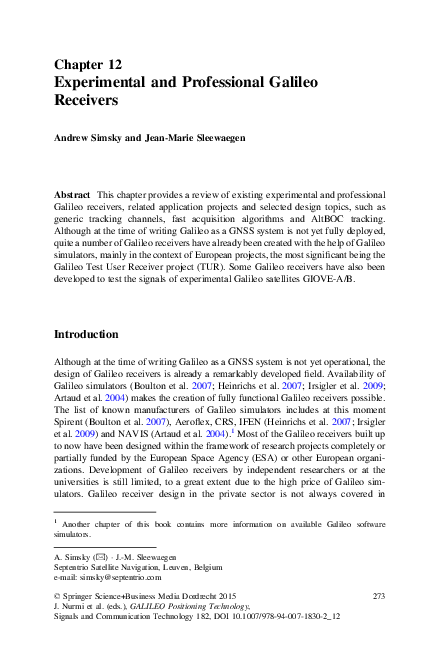 PDF) Experimental and professional Galileo receivers