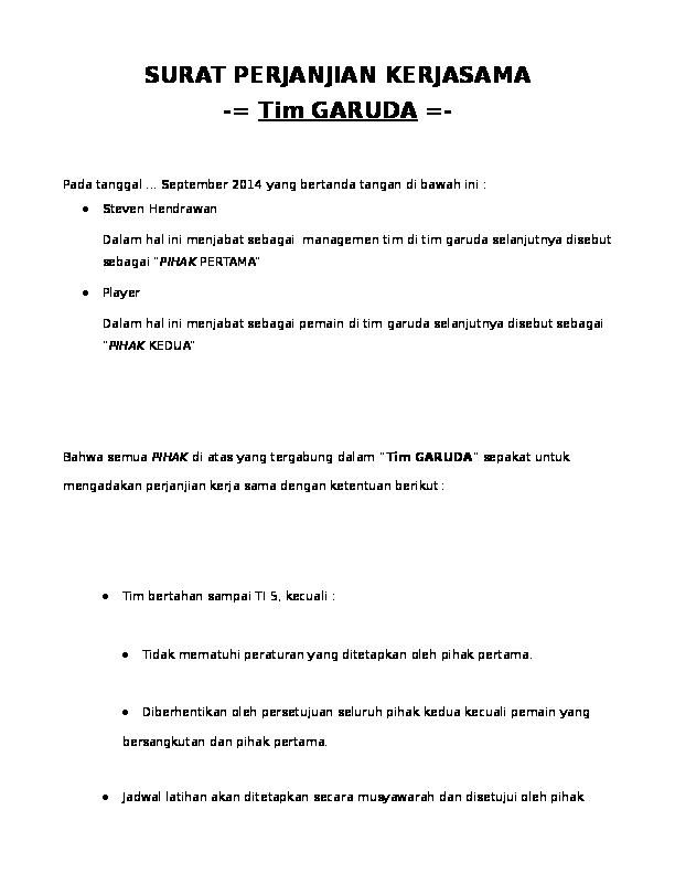 Surat Perjanjian Kerjasama Tim Garuda Stanley Ho