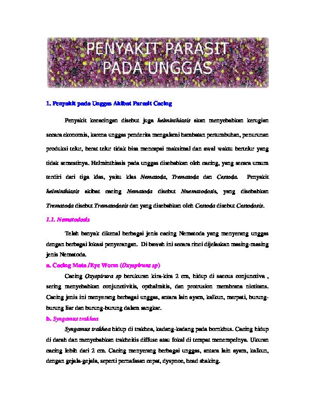 PDF) Penyakit pada Unggas Akibat Parasit Cacing | Luthfi